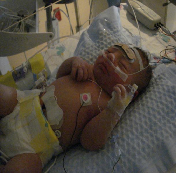 Baby Benjamin in hospital